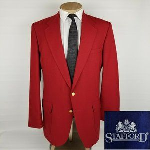 Stafford Mens Vintage Blazer 44L Red Gold Buttons
